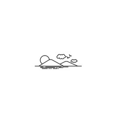hawaii island mountain and sea logo design vector image