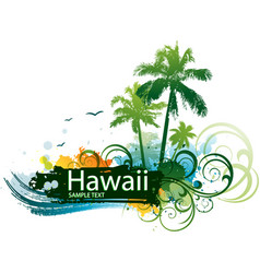 Hawaiian tropical background vector