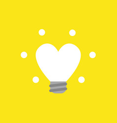 icon concept of glowing heart-shaped light bulb vector image