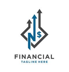 initial logo n financial vector image