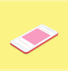 isometric concept smartphone with social network vector image