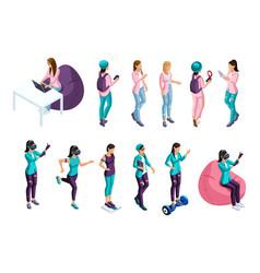isometrics set of people 3d teenagers vector image