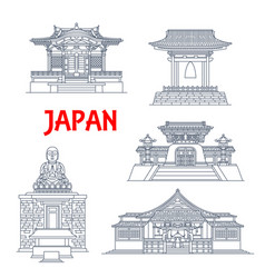 japan temples japanese pagoda buildings kamakura vector image