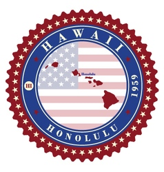 Label sticker cards of State Hawaii USA vector image