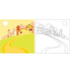 landscape with houses vector image