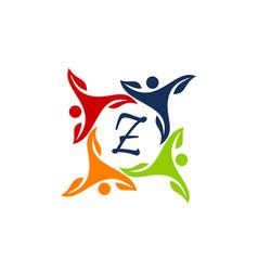 Leaf people health together letter z vector
