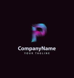 letter p modern wave line logo design template vector image