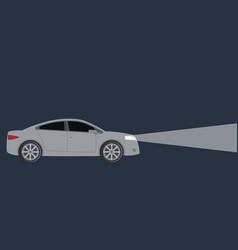 Light from car headlights in night vector
