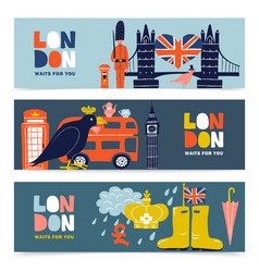 london horizontal banners set vector image