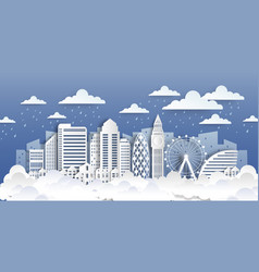London paper landmarks paper cut city landscape vector