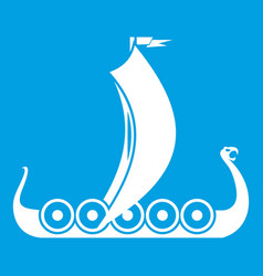 Medieval boat icon white vector