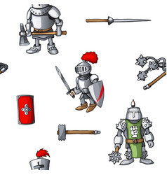 medieval hand drawn seamless pattern armored vector image