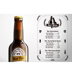 Menu template for alcohol with realistic brown vector image