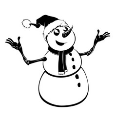Monochrome christmas snowman vector