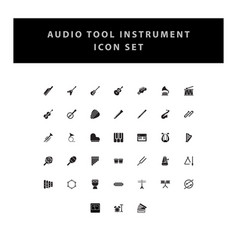 musical instruments icons set with glyph style vector image