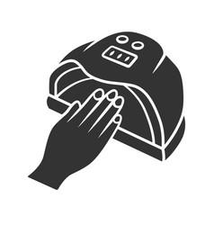 Nail dryer glyph icon uv led hybrid lamp gel vector