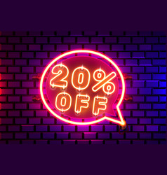 Neon chat frame 20 off text banner night sign vector