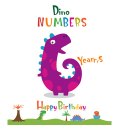 number 6 in the form of a dinosaur vector image