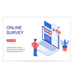 Online survey isometric landing page vector