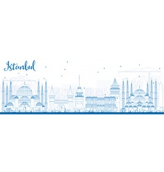 Outline Istanbul Skyline with Blue Landmarks vector image