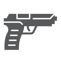 pistol gun glyph icon weapon and army handgun vector image
