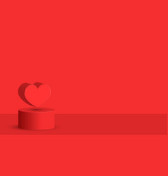 Red heart levitation on 3d cylindrical podium vector