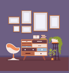 retro interior with wall frames for copy space vector image