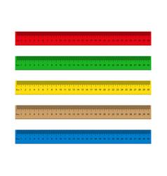 Ruler with measure inch mm cm wooden metal vector