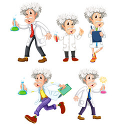 scientist in different poses on white background vector image