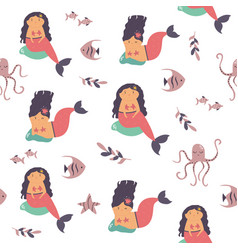 seamless pattern with cute mermaids and sea vector image