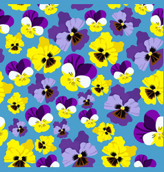 seamless pattern with pansieson a blue background vector image