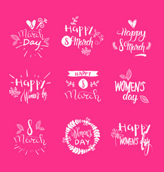 Set of 8 march holiday stickers on pink background vector