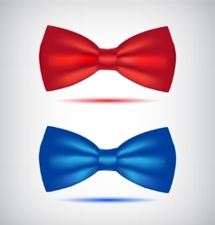 Set of realistic blue and red bow ties vector