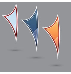 Set of three various colored flags vector image
