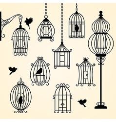 set vintage bird cages vector image