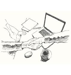 Sketch business handshake partnership top drawn vector
