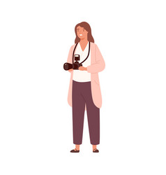 smiling woman professional photographer holding vector image
