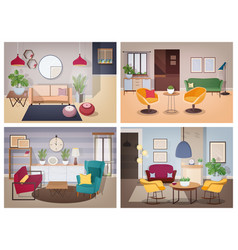 Soviet style living-room collection furnished vector