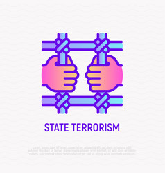 state terrorism thin line icon illegal vector image