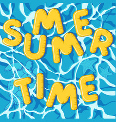 Summer time inflatable letters turtle starfish vector