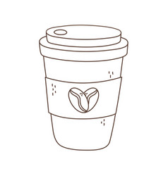 Takeaway coffee cup disposable isolated icon white vector