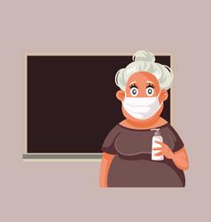 Teacher wearing face mask holding hand sanitizer vector