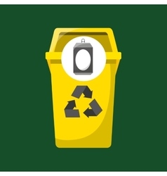 Trash yellow can icon recycle vector