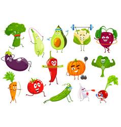 vegetables sportsmen cartoon veggies set vector image