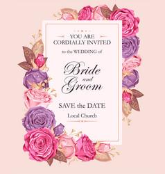 Vintage wedding invitation vector