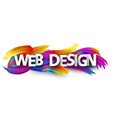 web design paper banner with colorful brush vector image