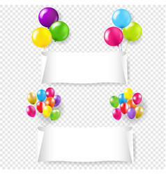 white paper banner with color balloons vector image