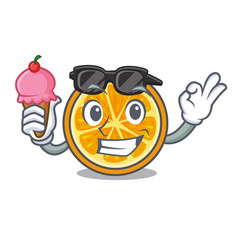 with ice cream orange character cartoon style vector image