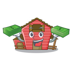 With money spring day with a red barn cartoon vector