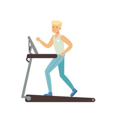 Young blond man running on treadmill astronaut vector